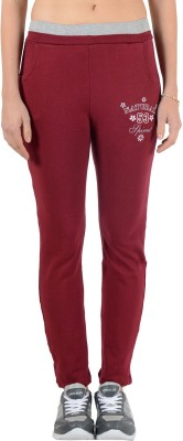 2 Day Solid, Printed Women's Maroon Track Pants