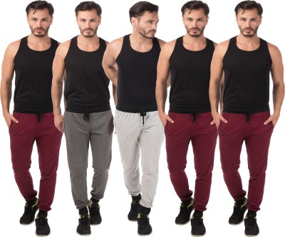 Meebaw Self Design Men's Grey, Grey, Maroon, Maroon, Maroon Track Pants