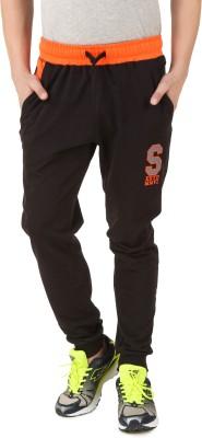 Spunk Solid Men's Black Track Pants