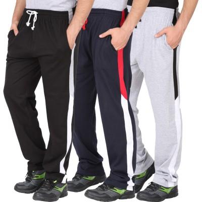CHECKERSBAY Solid Men's Black, Dark Blue, Grey Track Pants