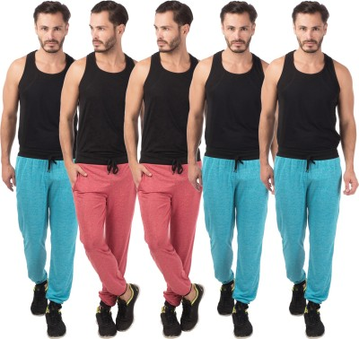 Meebaw Self Design Men's Red, Red, Blue, Blue, Blue Track Pants
