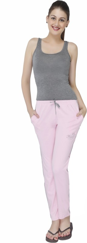 Red Ring Solid Women's Pink Track Pants