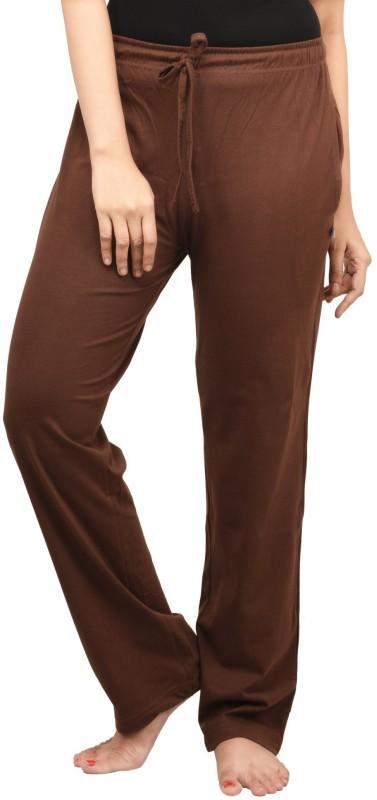 Nite Flite Solid Women's Brown Track Pants