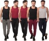 Meebaw Self Design Men's Grey, Black, Bl...