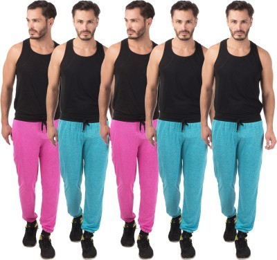 Meebaw Self Design Men's Pink, Pink, Blue, Blue, Blue Track Pants