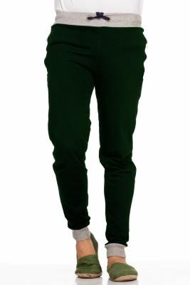 Demokrazy Solid Men's Dark Green Track Pants