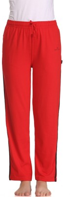 Tryd Pro Striped, Solid Women's Red Track Pants