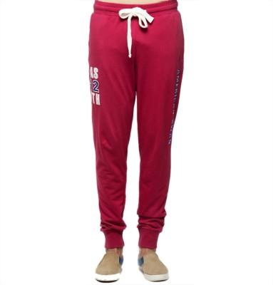 American Swan Self Design Men's Red Track Pants