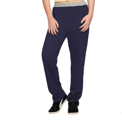 Towngirl Navy Blue Solid Women's Dark Blue Track Pants