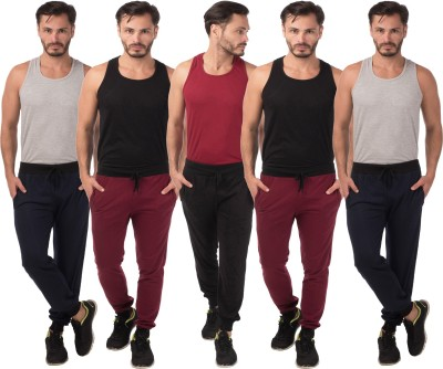 Meebaw Self Design Men's Black, Maroon, Maroon, Dark Blue, Dark Blue Track Pants