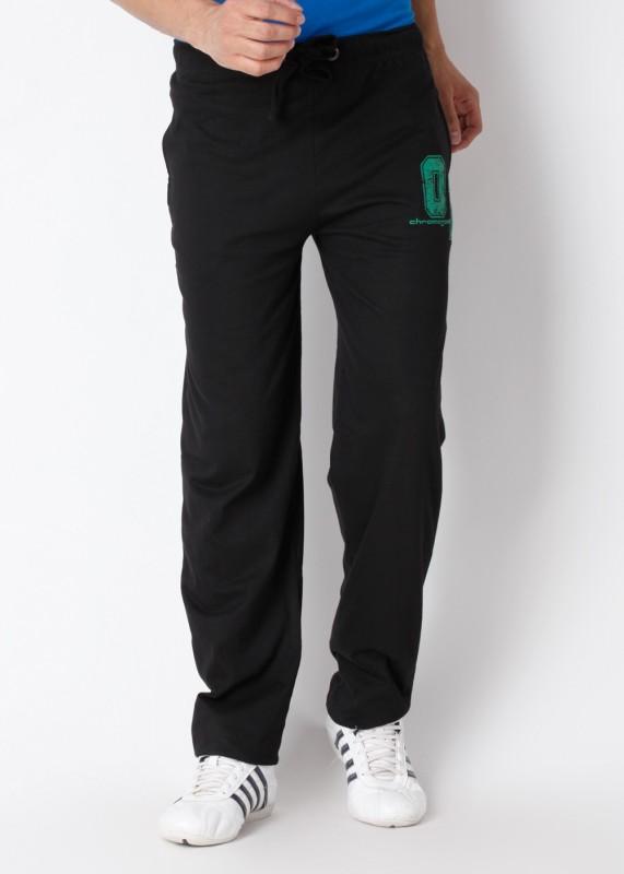 Chromozome Solid Men's Black Track Pants