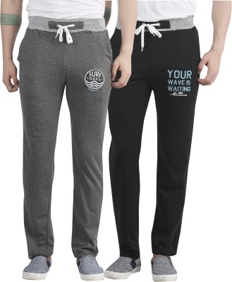 Maniac Embroidered Men's Black, Grey Track Pants