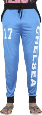 Just Play Solid Men's Blue Track Pants