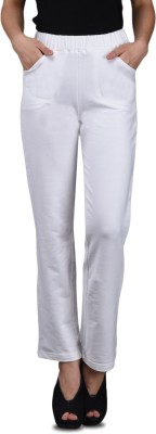 Finesse Solid Women's White Track Pants