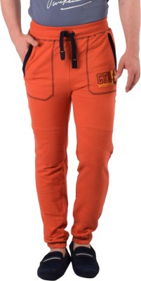 Cult Fusion Embroidered Men's Orange Track Pants
