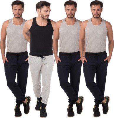 Meebaw Self Design Men's Grey, Dark Blue, Dark Blue, Dark Blue Track Pants