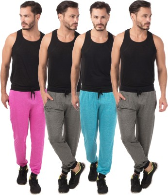Meebaw Self Design Men's Grey, Grey, Pink, Blue Track Pants