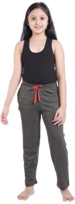 Red Ring Solid Girls Grey Track Pants
