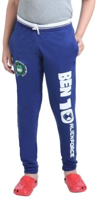 Red Ring Solid Boy's Blue Track Pants