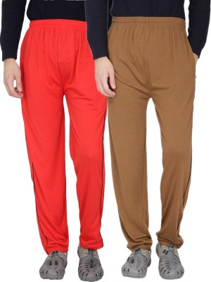 Fizzaro Solid Men's Red, Brown Track Pants