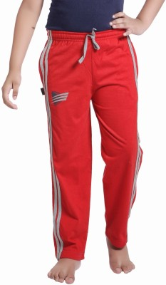 Red Ring Self Design Boy's Red Track Pants
