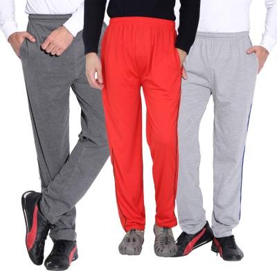 Fizzaro Solid Men's Grey, Red, Grey Track Pants