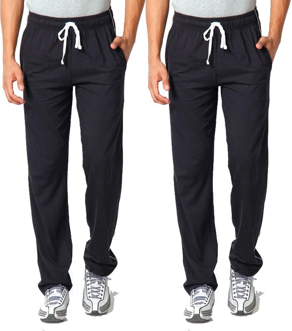 WellFitLook Cool TrackPant Solid Mens Black, Black Track Pants