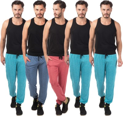 Meebaw Self Design Men's Red, Dark Blue, Blue, Blue, Blue Track Pants