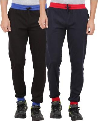 CHECKERSBAY Solid Men's Black, Dark Blue Track Pants