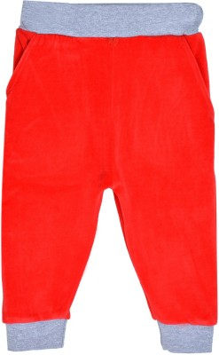 Lil Orchids Solid Girls Red Track Pants