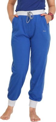 Colors & Blends Solid Women's Blue Track Pants