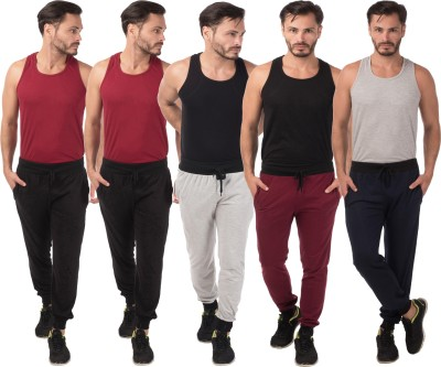Meebaw Self Design Men's Grey, Black, Black, Maroon, Dark Blue Track Pants