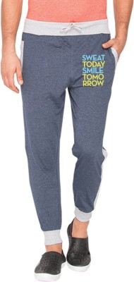 Campus Sutra Printed Mens Blue Track Pants