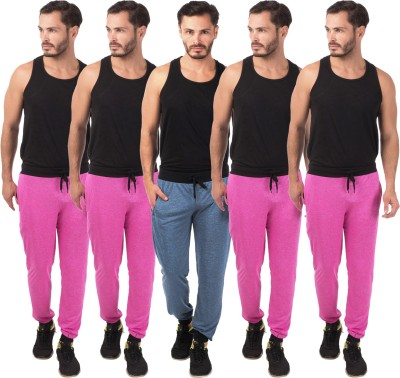 Meebaw Self Design Men's Dark Blue, Pink, Pink, Pink, Pink Track Pants