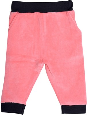 Lil Orchids Solid Girl's Pink Track Pants