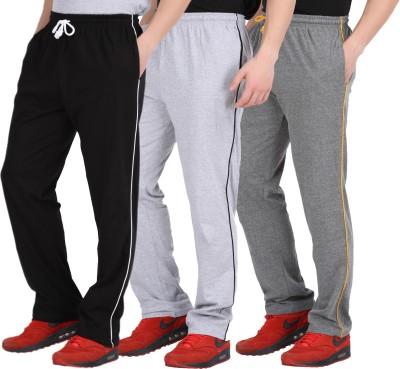 CHECKERSBAY Solid Men's Black, White, Grey Track Pants