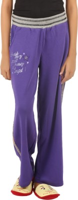 Menthol Embroidered Girl's Purple Track Pants