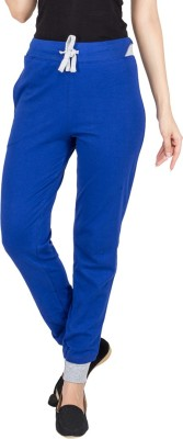 Campus Sutra Solid Womens Blue Track Pants