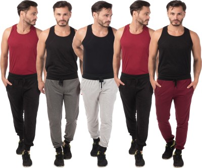 Meebaw Self Design Men's Grey, Grey, Black, Black, Maroon Track Pants