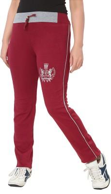 KuuKee Fashion Solid Women's Maroon Track Pants