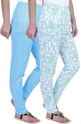 Eshelle Paisley, Floral Print Women's Green, White, Blue Track Pants