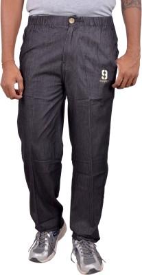 Sapper Sports Wear Denim weave Solid Men's Black Track Pants