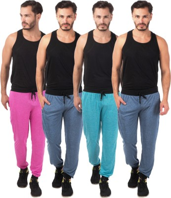 Meebaw Self Design Men's Dark Blue, Dark Blue, Pink, Blue Track Pants