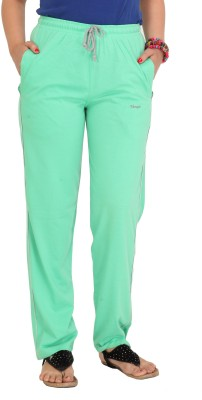 Colors & Blends Solid Women's Green Track Pants