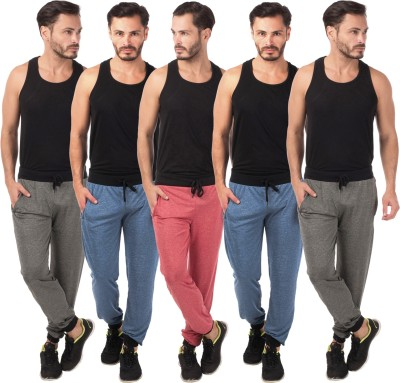 Meebaw Self Design Men's Red, Dark Blue, Dark Blue, Grey, Grey Track Pants