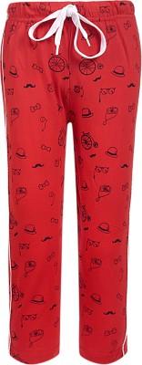 Sweet Angel Printed Boy's Red Track Pants
