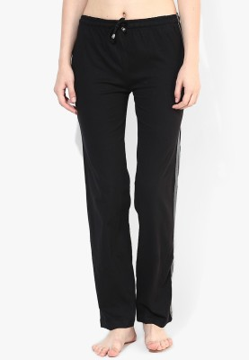 Red Rose Solid Women's Black Track Pants