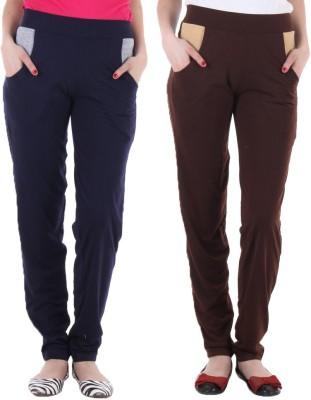 Coaster Solid Women's Dark Blue, Brown Track Pants