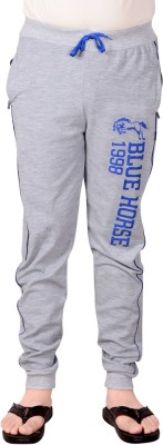 Blue Horse Printed Men's Silver Track Pants