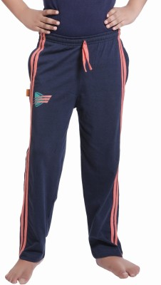 Red Ring Self Design Boys Blue Track Pants